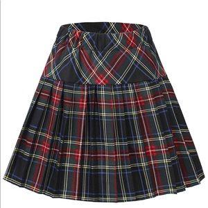 Elated Waist Pleated Plaid Skirts